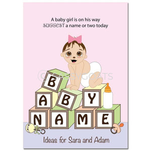 Brunette Baby Shower Games - Blocks Name Suggestions