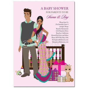 Indian Baby Shower Invitation - Back To