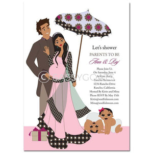Indian Baby Shower Invitation - Fancy Umbrella Twins