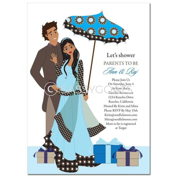 Indian Baby Shower Invitation - Fancy Umbrella
