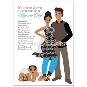 Indian Baby Shower Invitation - Glam Couple Twins