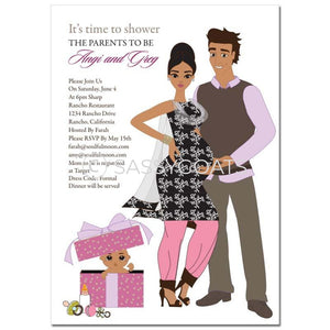 Indian Baby Shower Invitation - Glam Couple