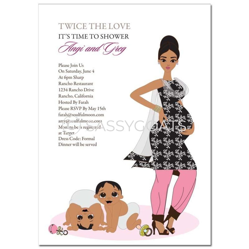 Indian Baby Shower Invitation - Glam Mommy Twins