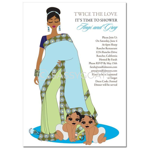 Indian Baby Shower Invitation - Hide And Seek Twins