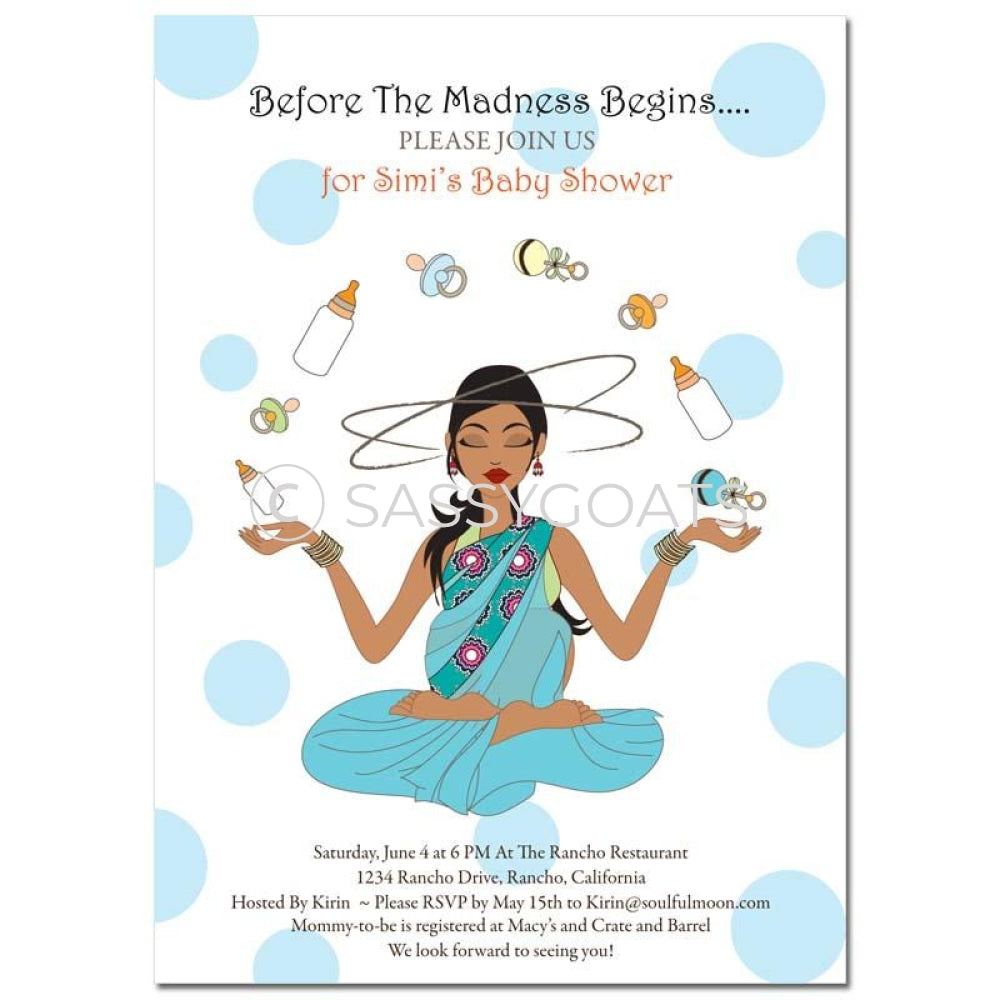 Indian Baby Shower Invitation - Meditating Mommy