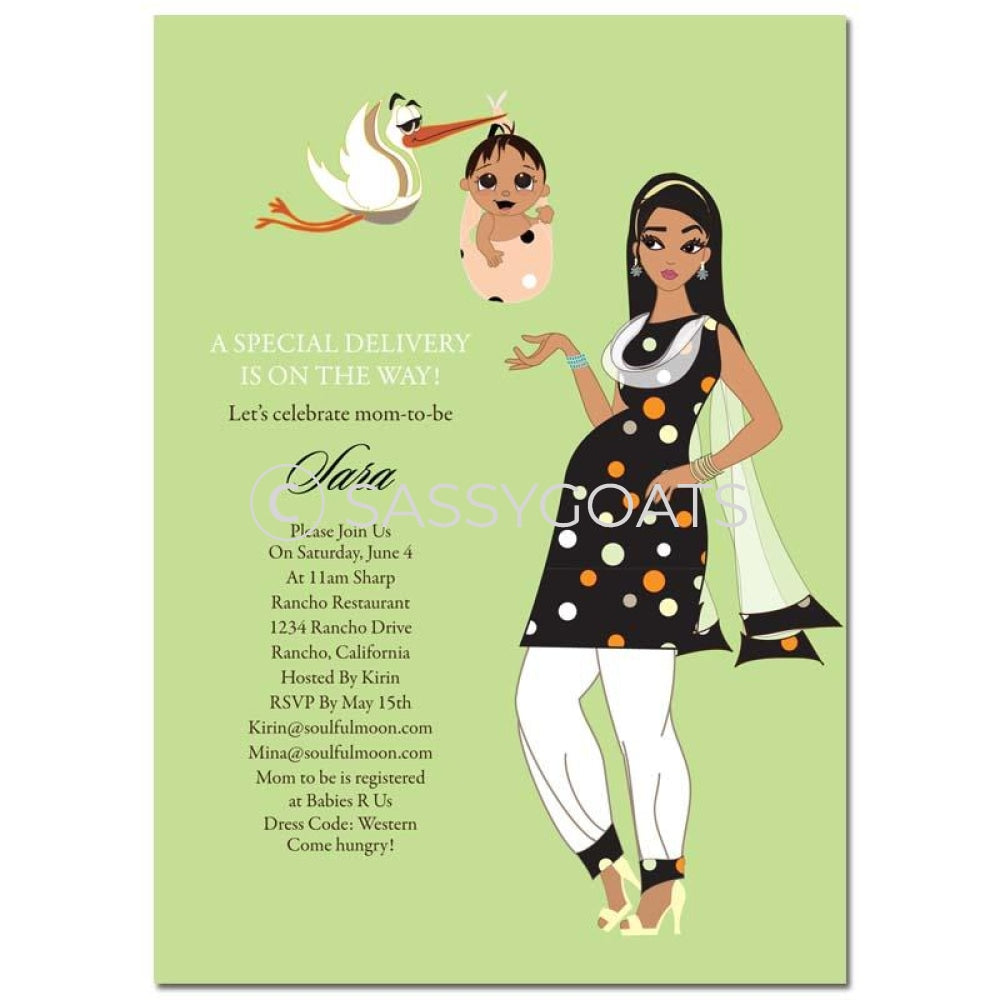 Indian Baby Shower Invitation - Spring Delivery