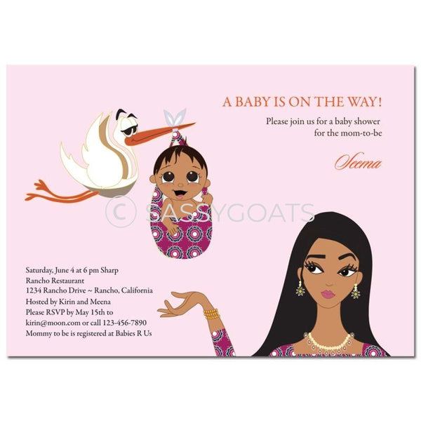 Indian Baby Shower Invitation - Stork Mommy