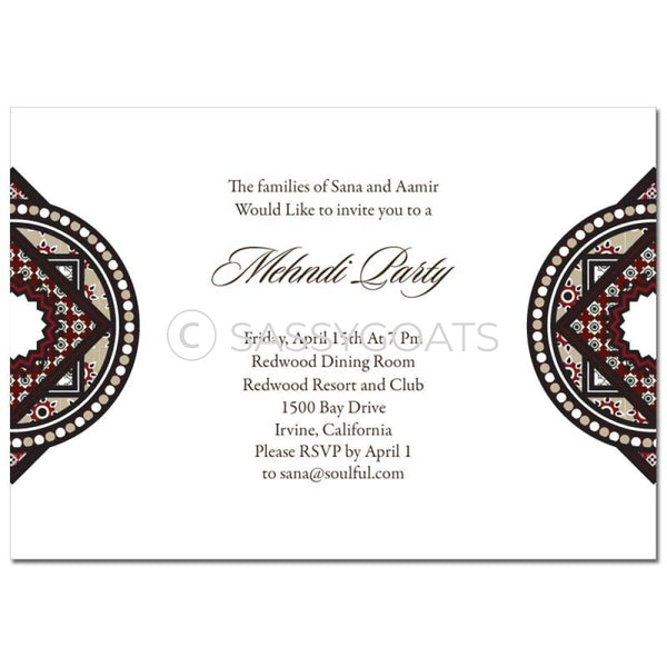 Indian Mehndi Invitation - Bold Brocade
