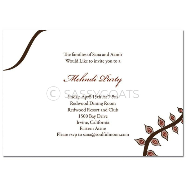 Indian Mehndi Invitation - Eastern Vines