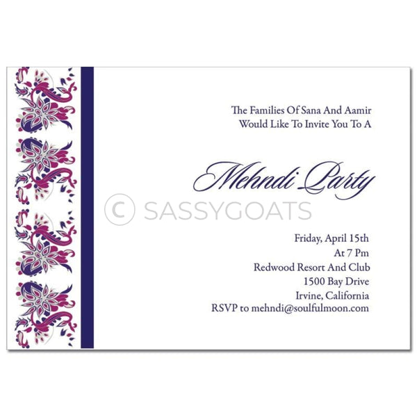 Indian Mehndi Invitation - Enchanting Birds