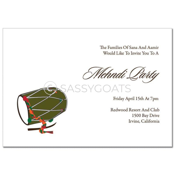 Indian Mehndi Invitation - Festive Drum