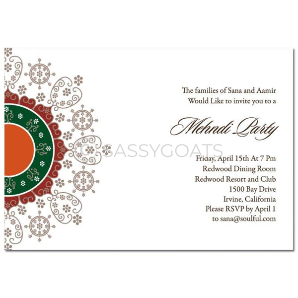 Indian Mehndi Invitation - Filigree Flourish
