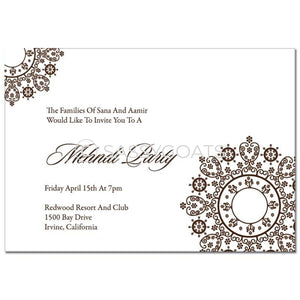 Indian Mehndi Invitation - Filigree Lace