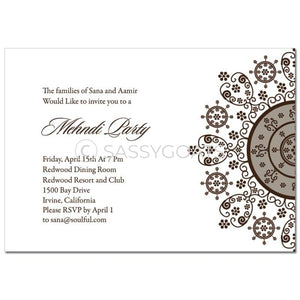 Indian Mehndi Invitation - Henna Snowflake