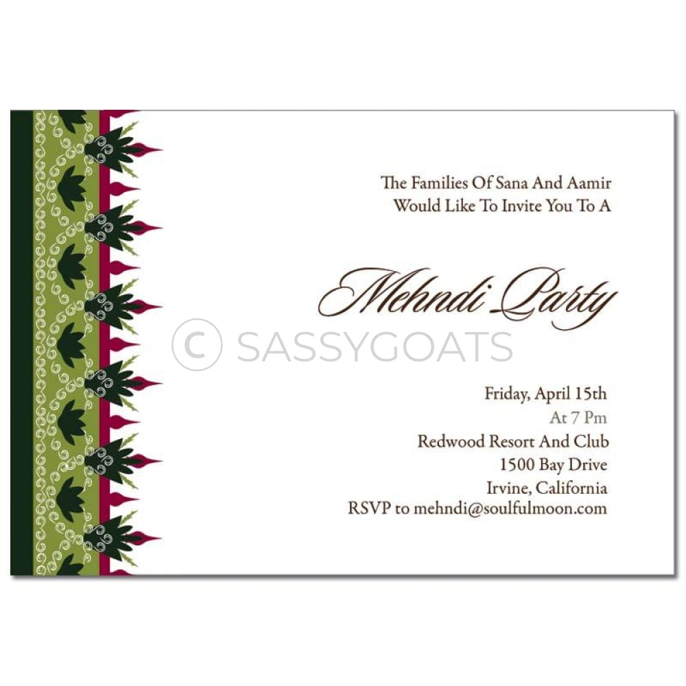 Indian Mehndi Invitation - Regal Border