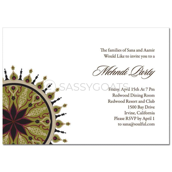 Indian Mehndi Invitation -Sparkly Corners