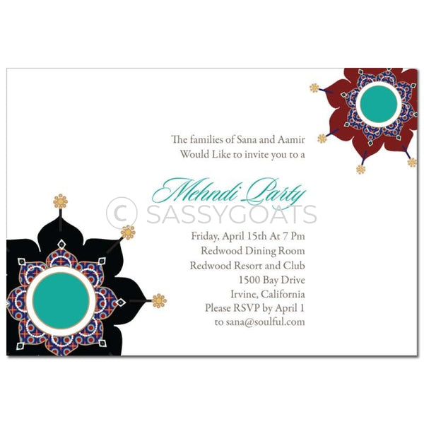 Indian Mehndi Invitation - Sparkly Pendants