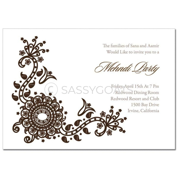 Indian Mehndi Invitation - Vintage Henna