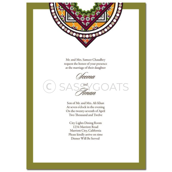 Indian Wedding Invitation - Bold Brocade
