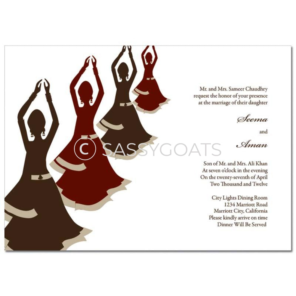 Indian Wedding Invitation - Dancers