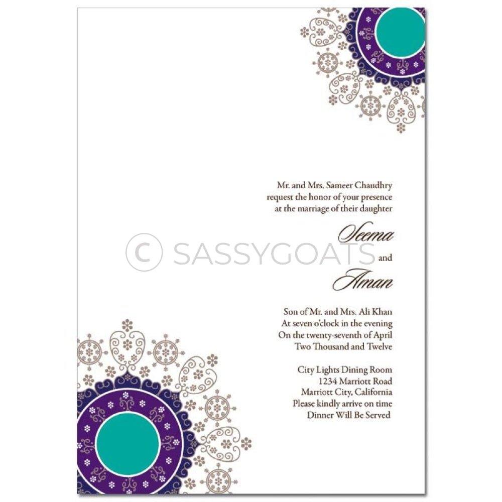Indian Wedding Invitation - Filigree Flourish