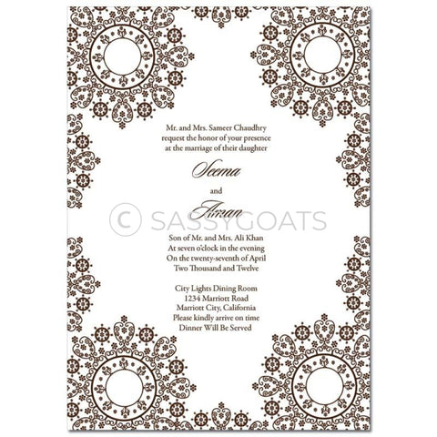 Indian Wedding Invitation - Filigree Lace