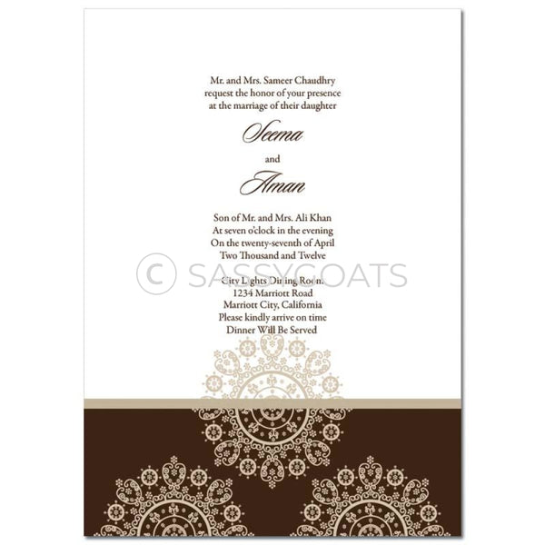 Indian Wedding Invitation - Framed Filigree