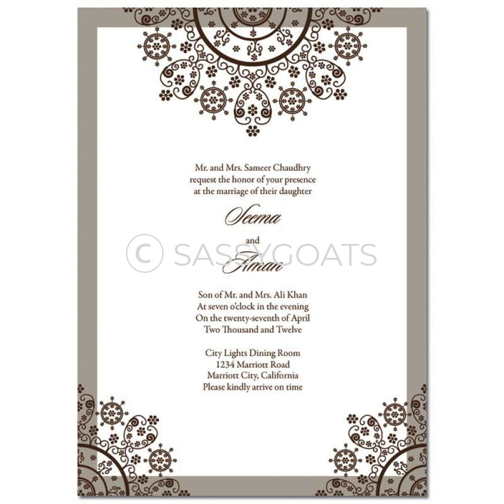 Indian Wedding Invitation - Henna Snowflake