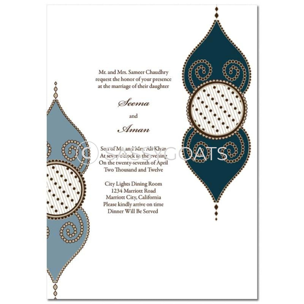 Indian Wedding Invitation - Henna Teardrops