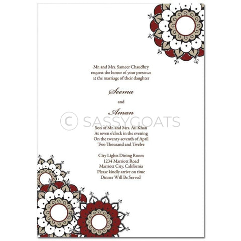 Indian Wedding Invitation - Henna Whirls