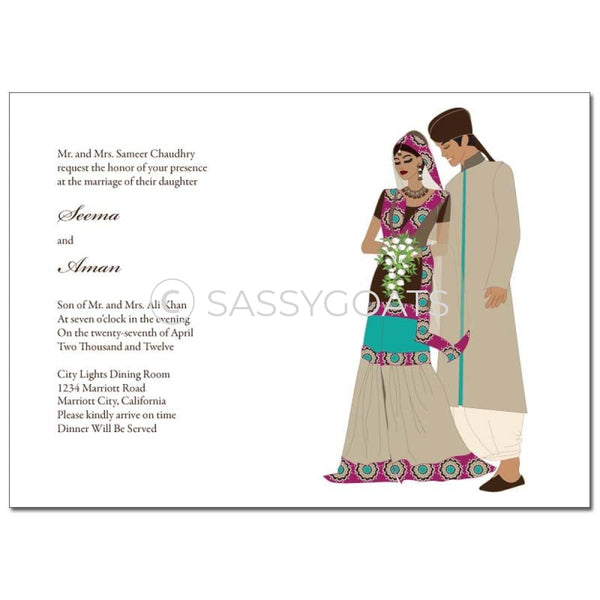 Indian Wedding Invitation - Regal Couple