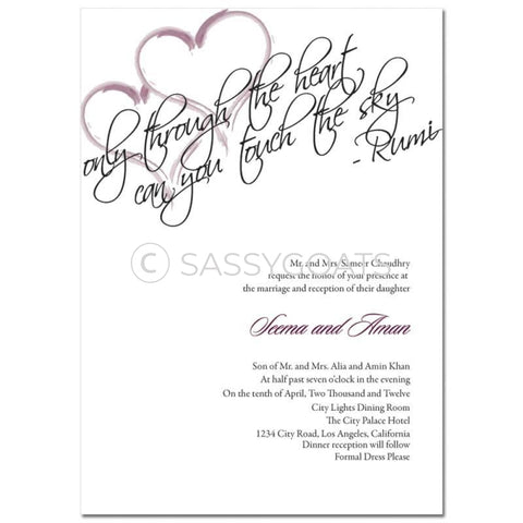 Indian Wedding Invitation - Rumi Hearts