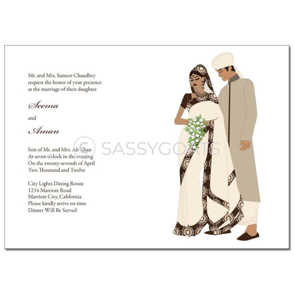 Indian Wedding Invitation - Saree Couple