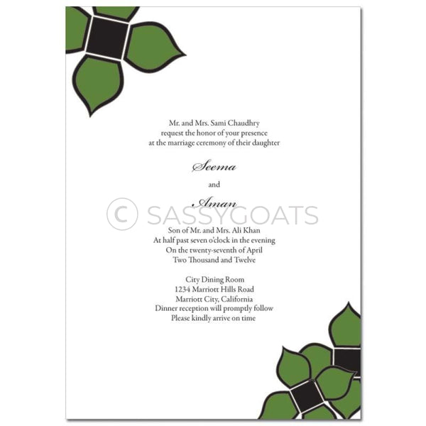 Indian Wedding Invitation - Three Flowers