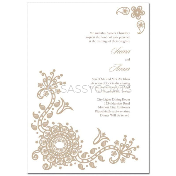 Indian Wedding Invitation - Vintage Henna