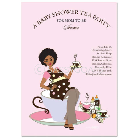 Online Invitation - African American Baby Shower Digital Teacup Mommy