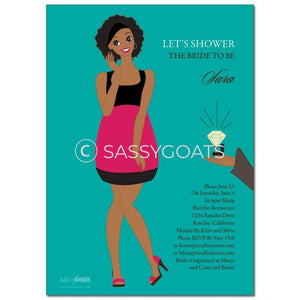 Online Invitation - African American Bridal Shower Digital Bashful Diva