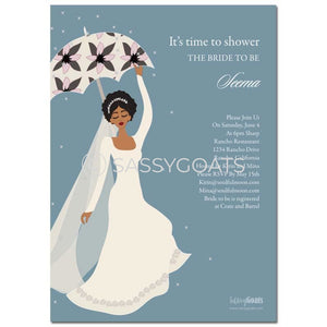 Online Invitation - African American Bridal Shower Digital Flower