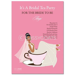 Online Invitation - African American Bridal Shower Digital Teacup Bride