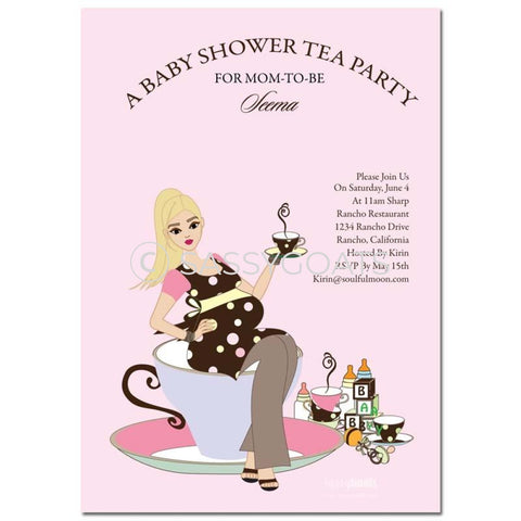 Online Invitation - Blonde Baby Shower Digital Teacup Mommy