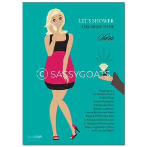 Online Invitation - Blonde Bridal Shower Digital Bashful Diva