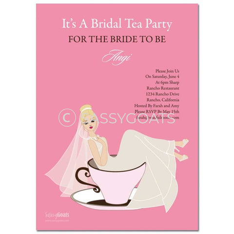 Online Invitation - Blonde Bridal Shower Digital Teacup Bride