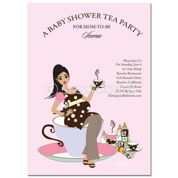 Online Invitation - Brunette Baby Shower Digital Teacup Mommy