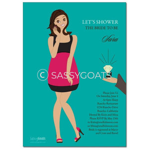 Online Invitation - Brunette Bridal Shower Digital Bashful Diva