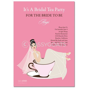 Online Invitation - Brunette Bridal Shower Digital Teacup Bride
