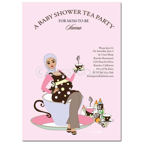 Online Invitation - Hijab Baby Shower Digital Teacup Mommy