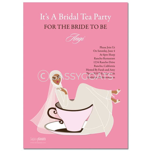 Online Invitation - Hijab Bridal Shower Digital Teacup Bride