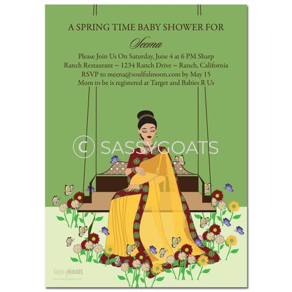Online Invitation - Indian Baby Shower Digital Spring Swing Diva