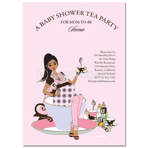 Online Invitation - Indian Baby Shower Digital Teacup Mommy