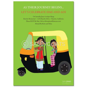 Online Invitation - Indian Dholki Bridal Shower Digital Rickshaw Couple
